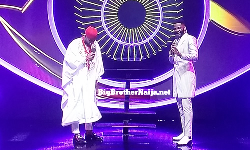 Prince Nelson Enwerem with Big Brother Naija Season 5 host Ebuka Obi-Uchendu on the live stage