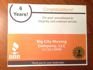 BBB Accredited Movers For Six Years