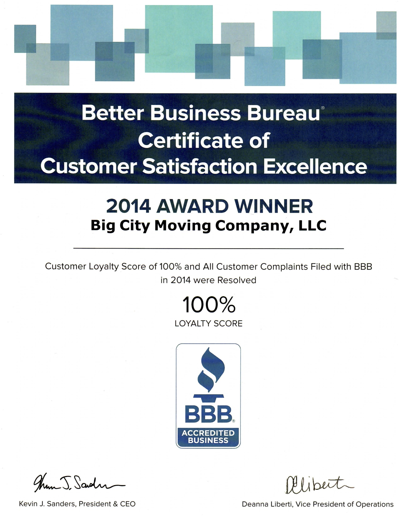 bbb customer service excellence award 2014. Black Bedroom Furniture Sets. Home Design Ideas