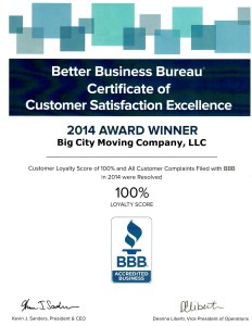 2014 Better Business Bureau Award for Customer Service Excellence goes to Big City Moving Company!