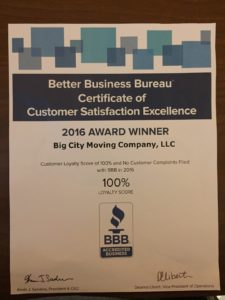 Better Business Bureau Certificate of Customer Satisfaction Excellence - 2016