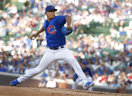 9e0c9d8ca Chicago Cubs starting pitcher Adbert Alzolay delivers during the second  inning of a baseball game against the Atlanta Braves, Tuesday, June 25,  2019, ...