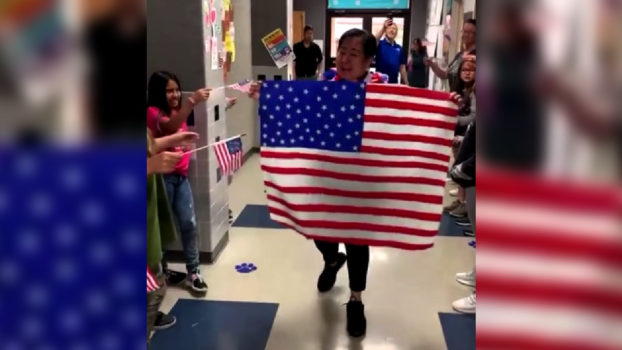 Students and staff at Oliver Elementary in Stamford celebrated their cafeteria worker, Maria Ponce, for becoming a US citizen.