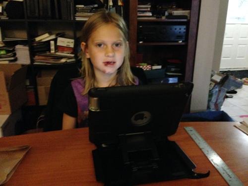 Lauren at desk
