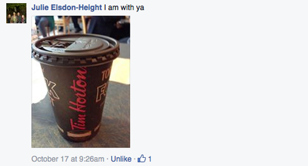 cannot do without my tim hortons julie height fb message