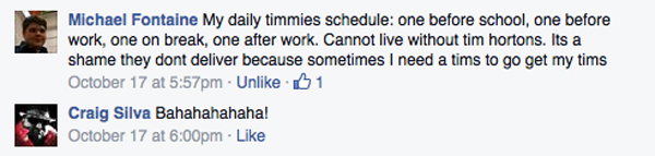 cannot do without my tim hortons michael fontaine fb message
