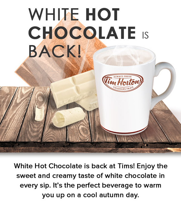 Tims Dark White Hot Chocolate