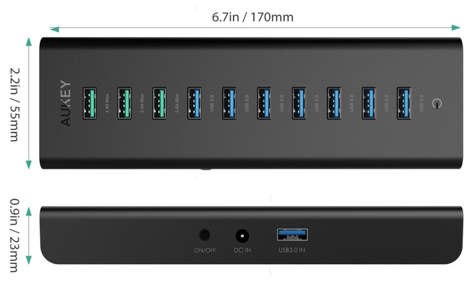 USB Hub aukey dimensions