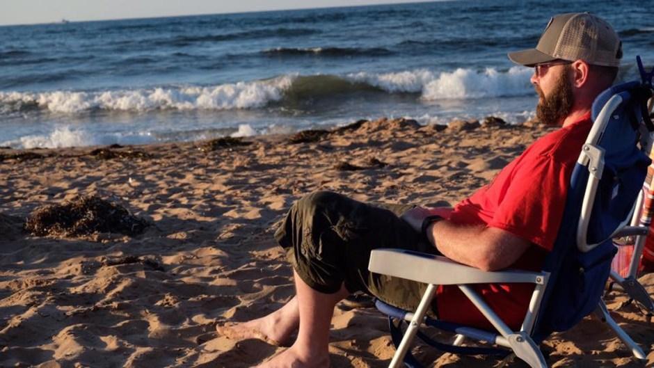 matthew tully on beach chair
