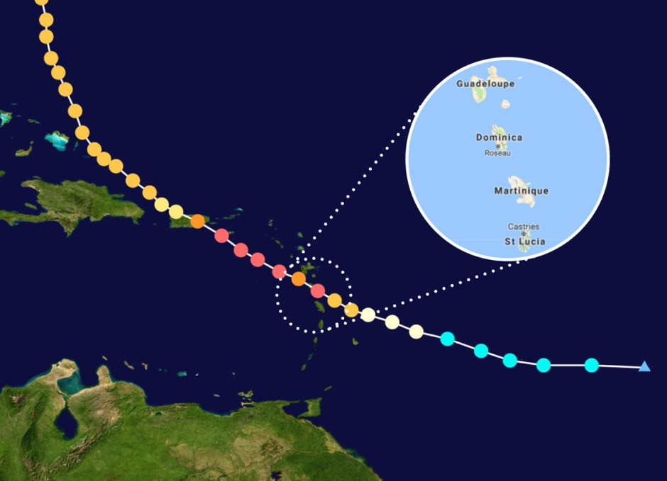 dominica map with hurricane path
