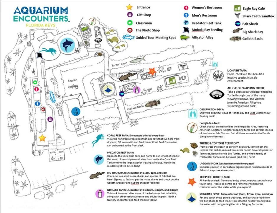 Aquarium Encounters map of the park