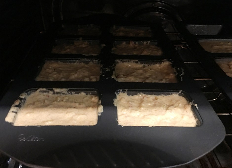 Cornbread Mini Loaves in the oven