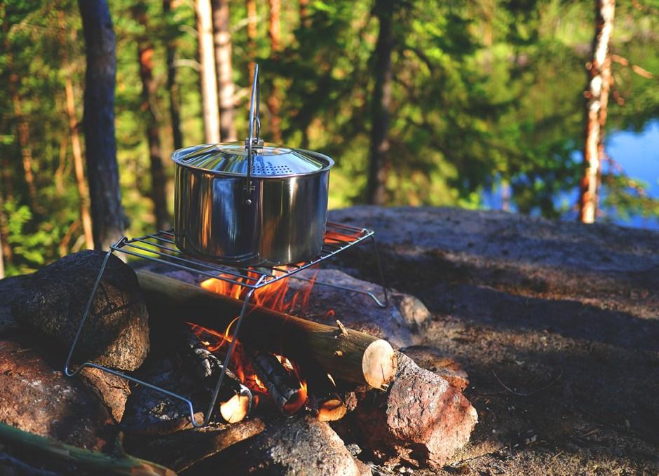 camping pots of campfire