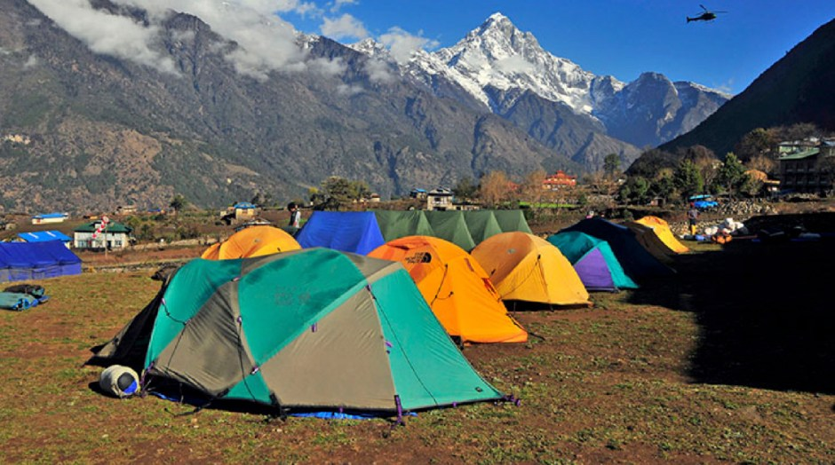 camping while trekking in nepal