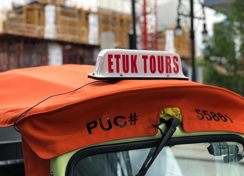 eTuk tour vehicle sign
