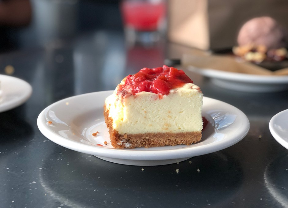 Work And Class Strawberry Rhubarb Cheesecake