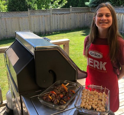 Cooking with Kids: Jerk Shrimp and Beef, Curried Scallops, and Grilled Vegetables #ad @gracefoodsca