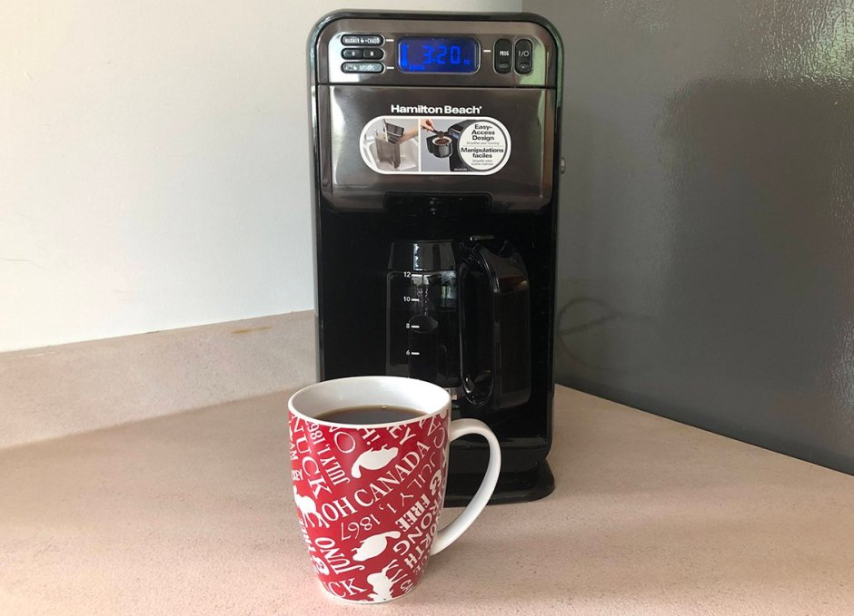 hamilton beach elite coffee maker with cup of coffee