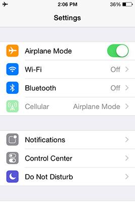 iOS Airplane Mode Settings