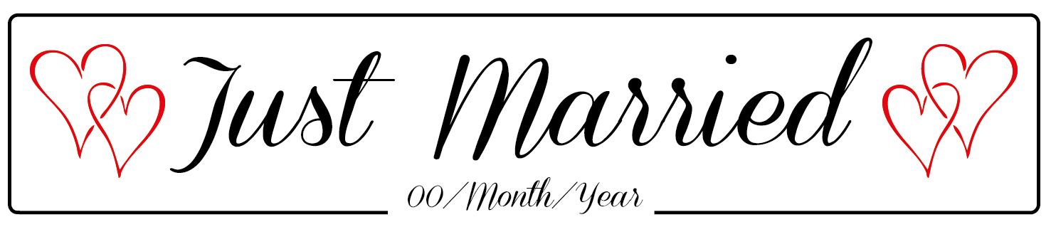Just Married Hearts Wedding Number Plate
