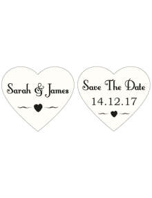 Save The Date Signs - Two Ivory Hearts