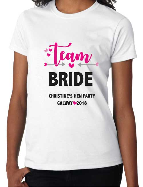 team bride personalised hen t-shirt
