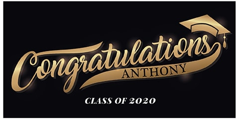 Graduation Banner Black and Gold
