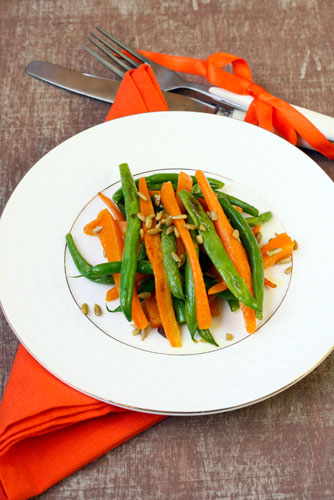 French style Green Beans and Carrots with Pomegranate