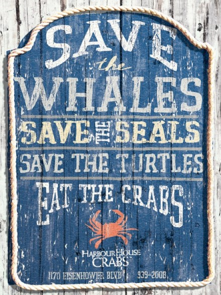 Save the whales, eat the crabs