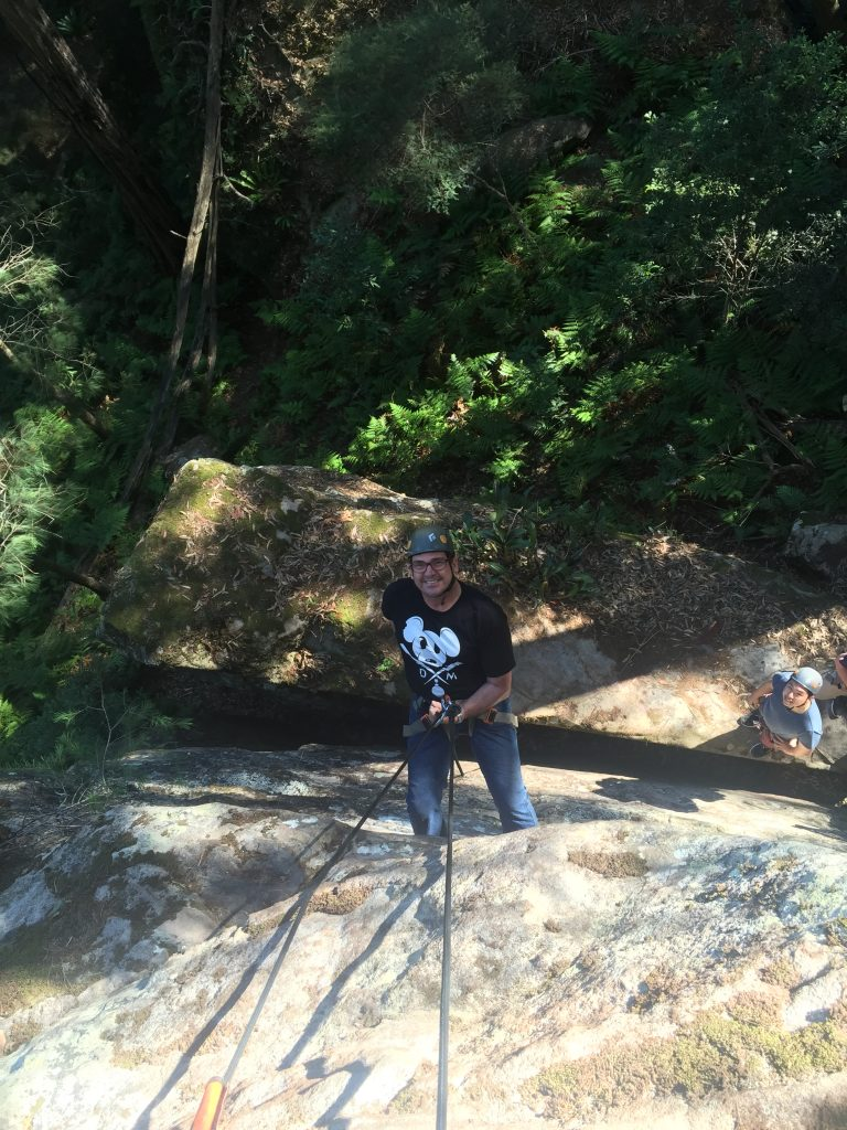 You gotta admit, that is some heavy duty rope I'm using. Below me is the crevice we had to slip through. Seriously.
