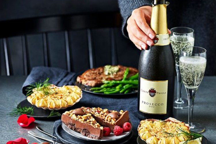 M & s Dine in for two Valentin'es meals deal with desserts prosecco and steak