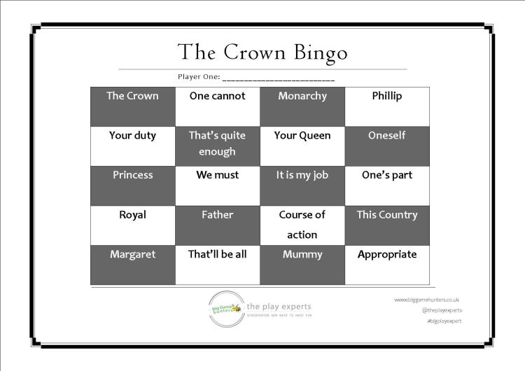 the crown bingo player one playing card