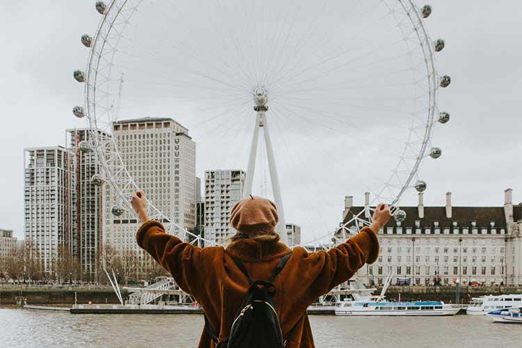 person viewing the london eye landmark