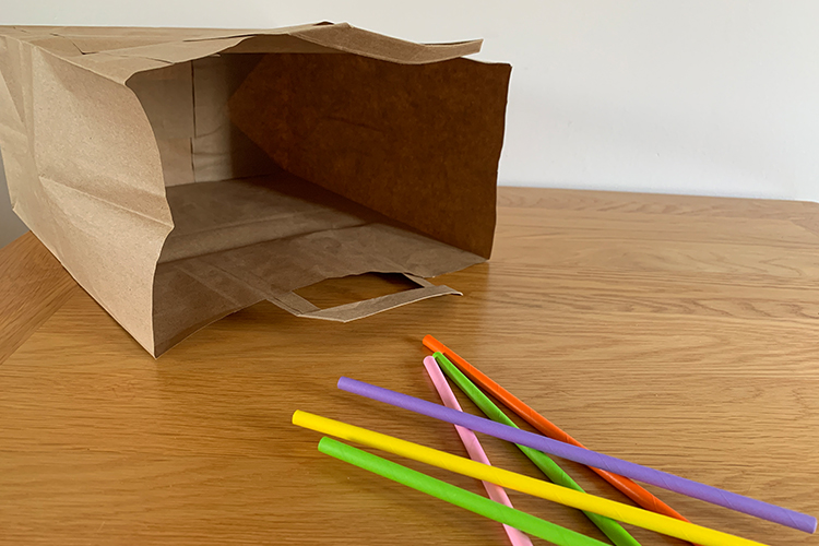 paper bag and straws for the movie game