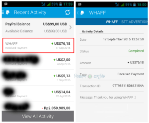 a proof payment whaff rewards to paypal 2015