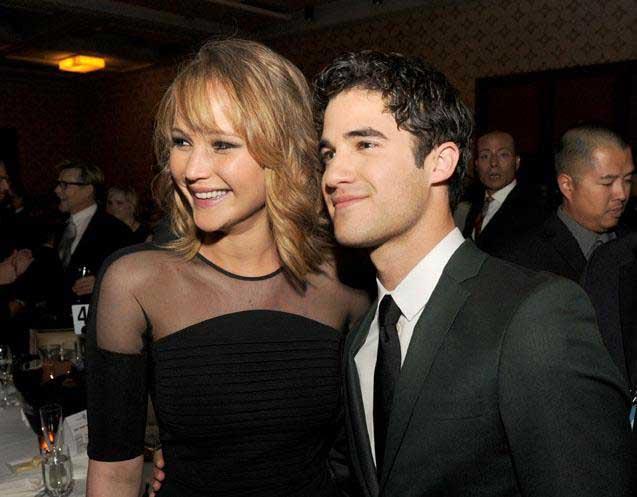 Darren Criss & Jennifer Lawrence at the GLAAD Media Awards