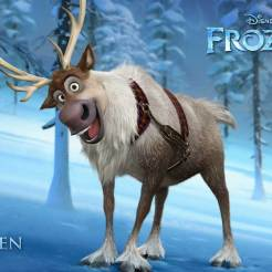 Sven - A reindeer with the heart of a Labrador, Sven is Kristoff's loyal friend, sleigh-puller and conscience. He makes sure his mountain-man companion is the stand-up guy Sven knows and loves, and does so without saying a word. A few emphatic snorts usually get his point across. Life would be perfect if only Kristoff would lose that ridiculous reindeer voice he likes to use when speaking for Sven (as if reindeers really talk that way).