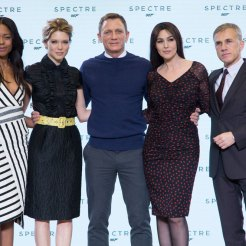 Naonie Harris, Lea Seydoux, Daniel Craig Monica Bellucci & Christoph Waltz at Spectre launch