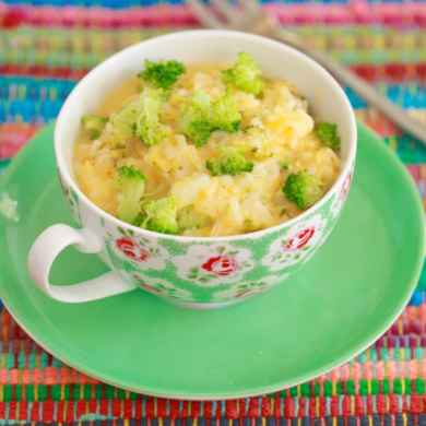 Microwave Mug Cheese and Broccoli Rice Bowl
