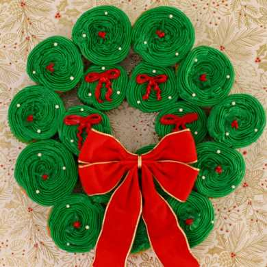 Cupcake Christmas Wreath
