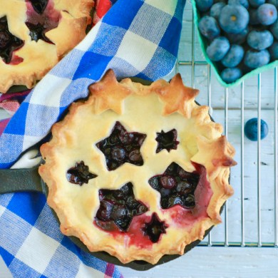 Mini Cast Iron Blueberry Pies