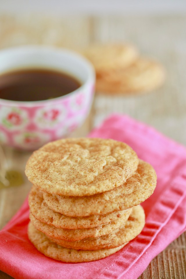 A stack of delicious snickerdoodle cookies.