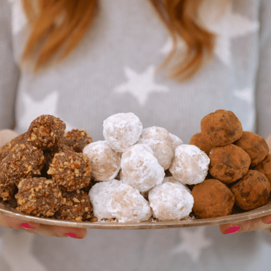 3 No-Bake Christmas Cookie Balls (Peanut Butter Snowball, Rum Ball, Chocolate Hazelnut Balls)