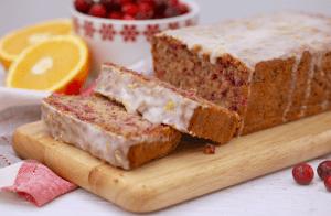 Cranberry Orange Cake with Lemon Glaze