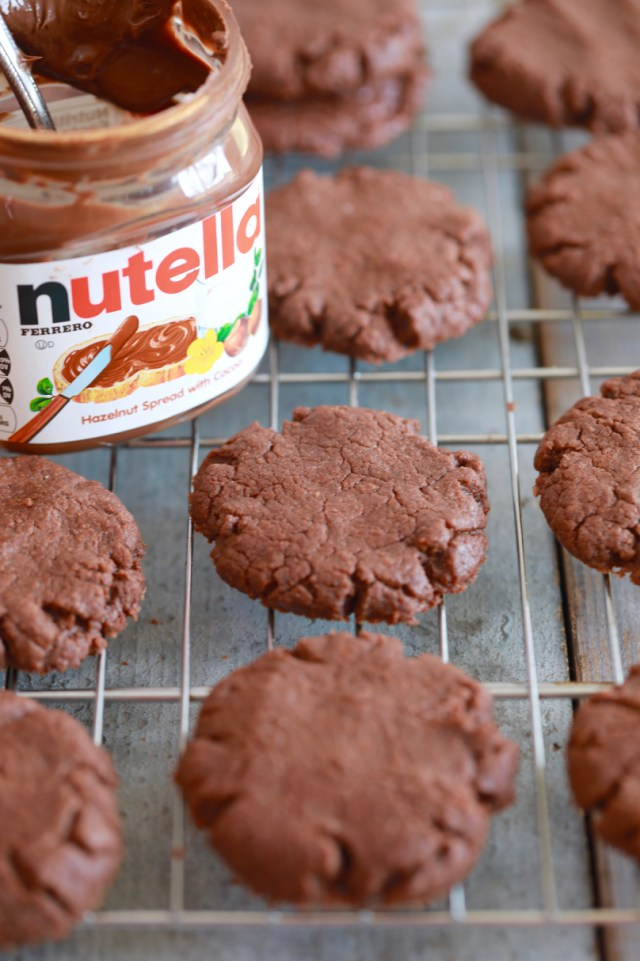 Baked 3 Ingredient Nutella Cookie recipe, out of the oven.