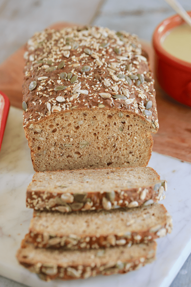 Irish brown bread recipe, cut to show texture.
