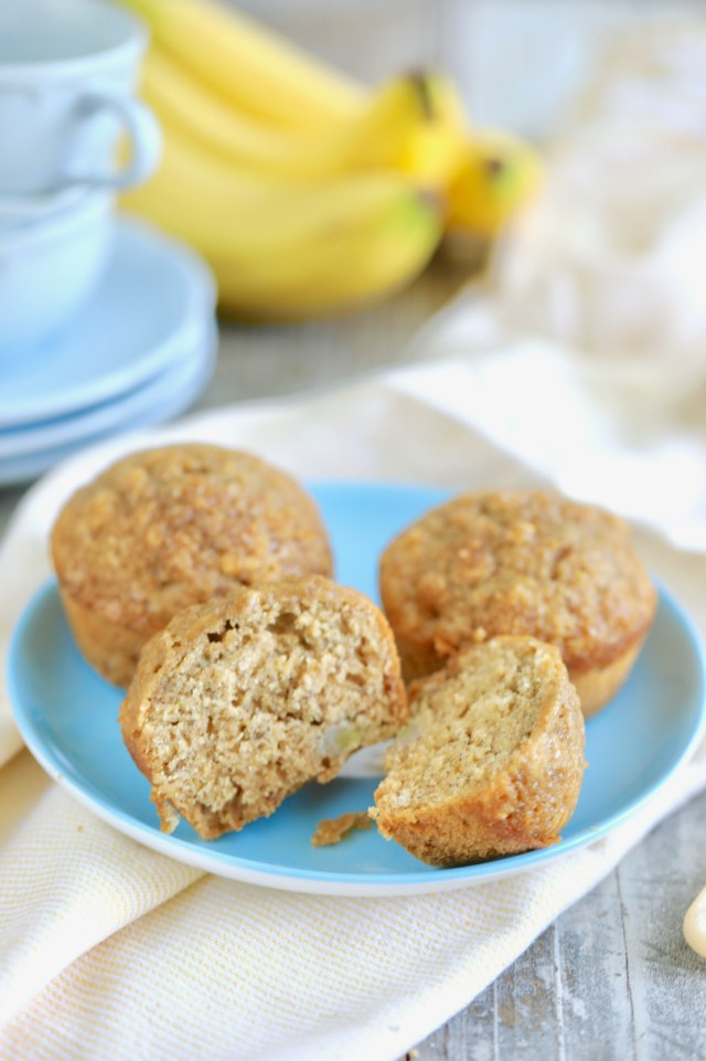 A cross section of healthy banana muffins showing texture and consistency