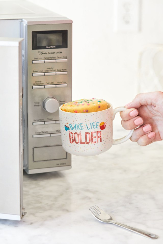 Baking a mug cake in the microwave with a Microwave Mug Meals Mug