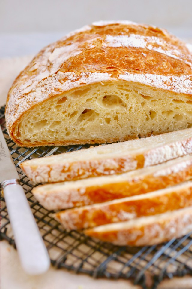 After avoiding the 7 Most Common Breadmaking Mistakes, the texture and inside of a loaf of bread will look like this.