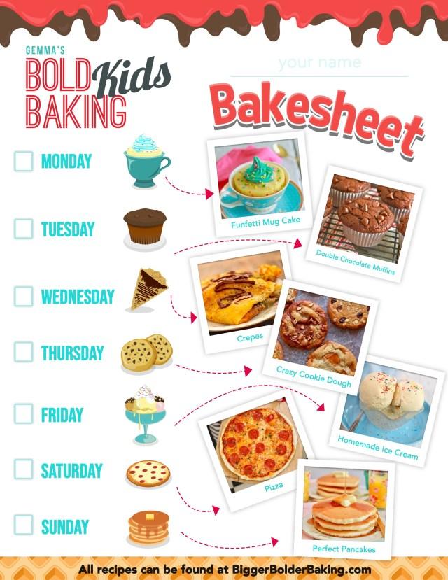Kids Baking Bakesheet Worksheet